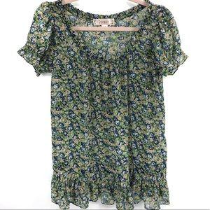 Decree Floral Green & Blue Short Sleeve Blouse